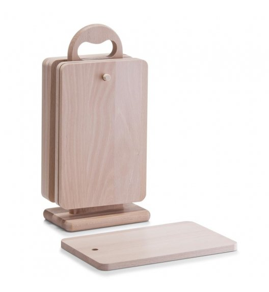 ZELLER Zestaw 6 desek do krojenia na stojaku 31 cm / drewno bukowe