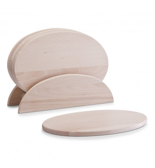 ZELLER Zestaw 6 owalnych desek do krojenia na stojaku 24 cm / drewno bukowe