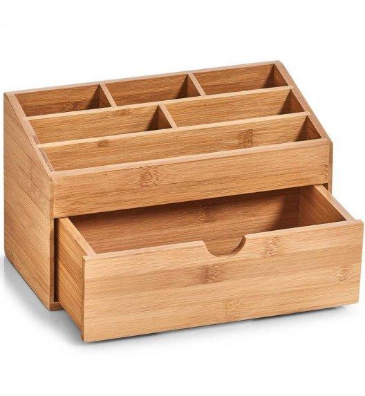 ZELLER Organizer z szufladą na kosmetyki / akcesoria biurowe 7 przegródek / drewno bambusowe