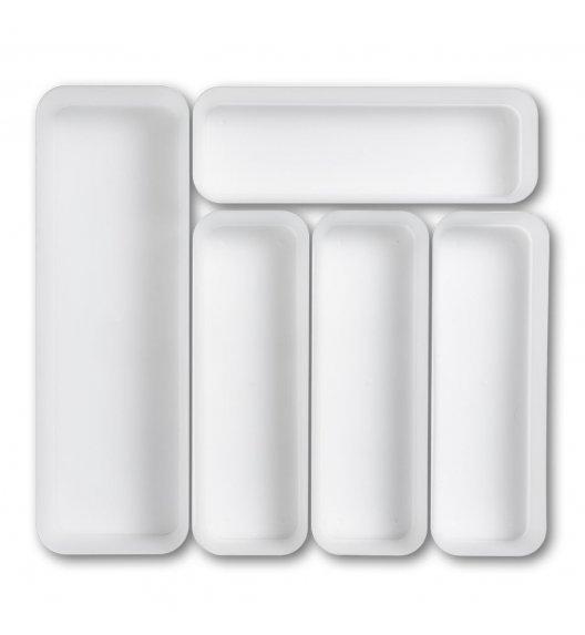 ZELLER Organizer do szuflady na sztućce 5-częściowy / biały / tworzywo sztuczne