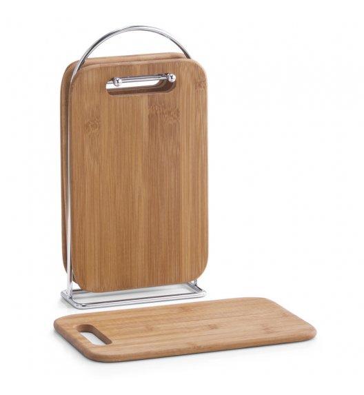 ZELLER Zestaw 4 desek do krojenia na stojaku 30 cm / drewno bambusowe