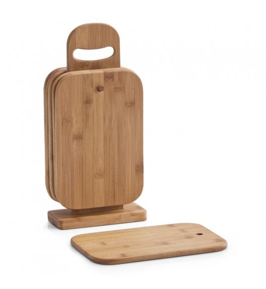ZELLER Zestaw 6 desek do krojenia na drewnianym stojaku 32 cm / drewno bambusowe