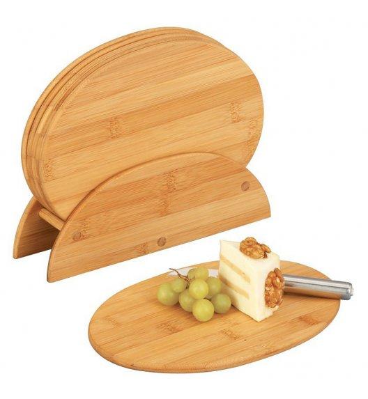ZELLER Zestaw 6 owalnych desek do krojenia na drewnianym stojaku 24 cm / drewno bambusowe