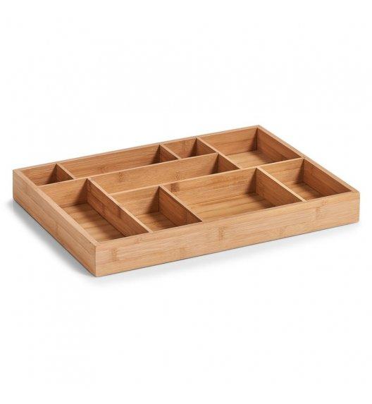 ZELLER Drewniany wkład do szuflady na akcesoria biurowe i drobiazgi / 9 przegródek / drewno bambusowe