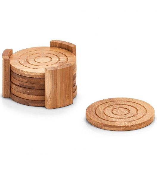 ZELLER Zestaw okrągłych podkładek Ø12 cm 7 części / drewno bambusowe