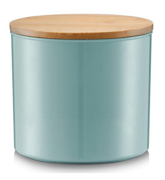 ZELLER PS Ozdobny pojemnik do przechowywania z pokrywką Ø12,5 cm morski / drewno bambusowe