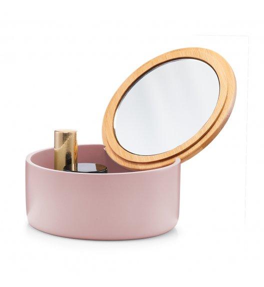 ZELLER Okrągłe pudełko na biżuterię z lustrem Ø13 cm / różowe / tworzywo sztuczne