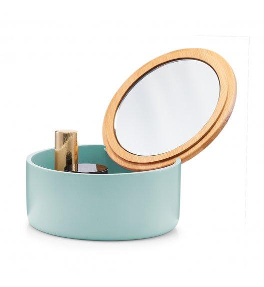ZELLER Okrągłe pudełko na biżuterię z lustrem Ø13 cm / miętowe / tworzywo sztuczne