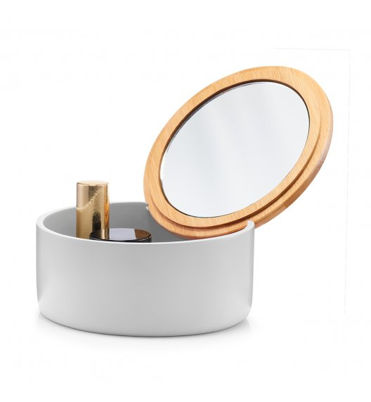 ZELLER Okrągłe pudełko na biżuterię lub kosmetyki z lusterkiem Ø13 cm / szare / tworzywo sztuczne