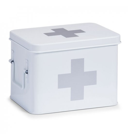 ZELLER Pudełko na lekarstwa 21,5 x 16 cm / białe / metal