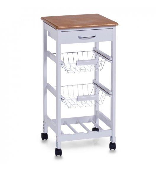 ZELLER Wielofunkcyjny wózek kuchenny na kółkach 36 x 36 x 76 cm / biały / drewno bambusowe