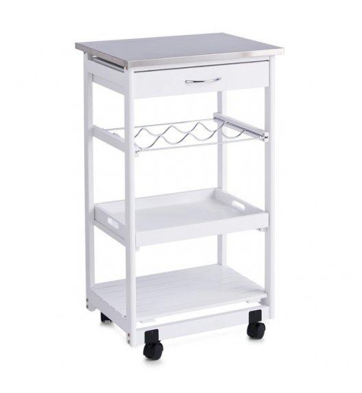 ZELLER Wielofunkcyjny wózek kuchenny na kółkach 47 x 37 x 82 cm / biały / drewno sosnowe