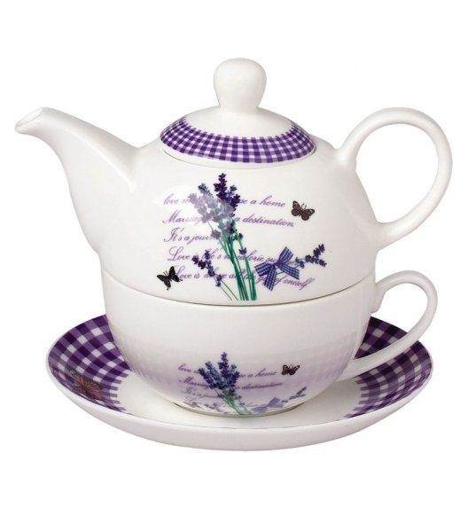 TADAR LAVANDA Dzbanek z filiżanką 400 ml / porcelana Bon China
