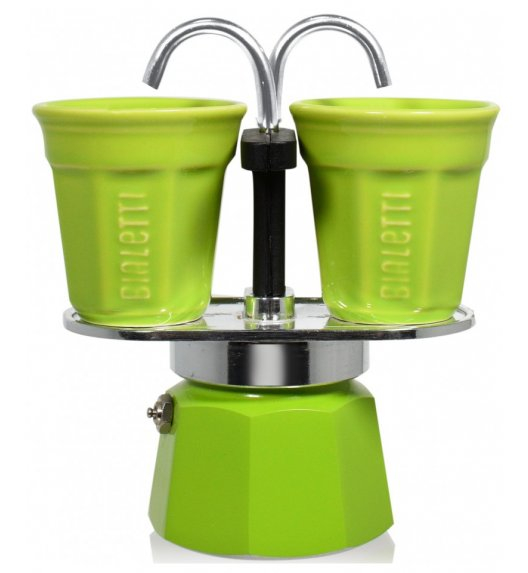 BIALETTI MINI EXPRESS Kawiarka 2 TZ zielona + 2 filiżanki 90 ml / scapol