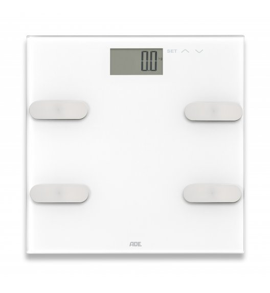 ADE MARLEEN Waga łazienkowa z analizą masy ciała 30 x 30 cm / szkło / biała / FreeForm