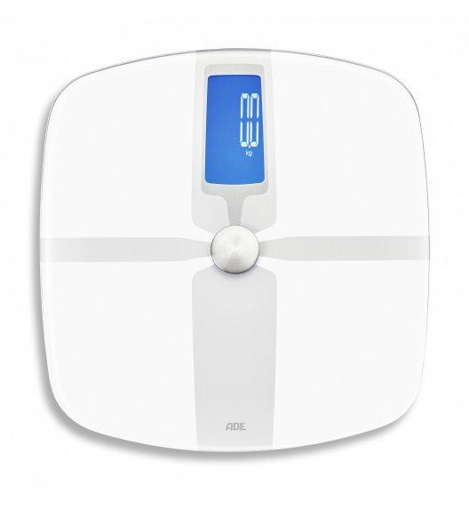 ADE FITvigo Waga łazienkowa z analizą masy ciała / łączność Bluetooth / 32 x 33 cm / szkło / biała / FreeForm
