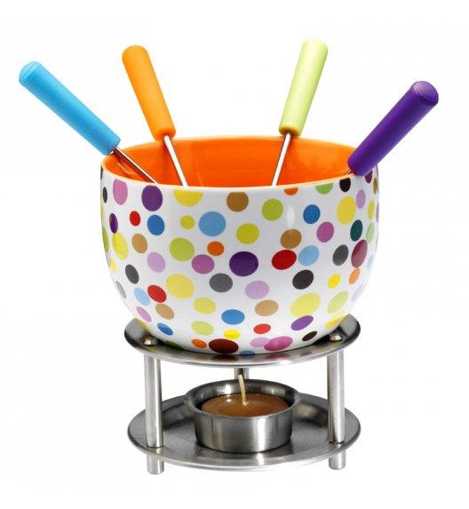 MASTRAD Zestaw do czekoladowego fondue - kolorowe kropki / 8 elementów / ceramika / LENA