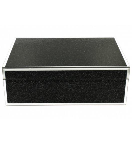 WYPRZEDAŻ! DUO BLACK GLITTER Szkatułka szklana na biżuterię 24,5 cm / Czarna