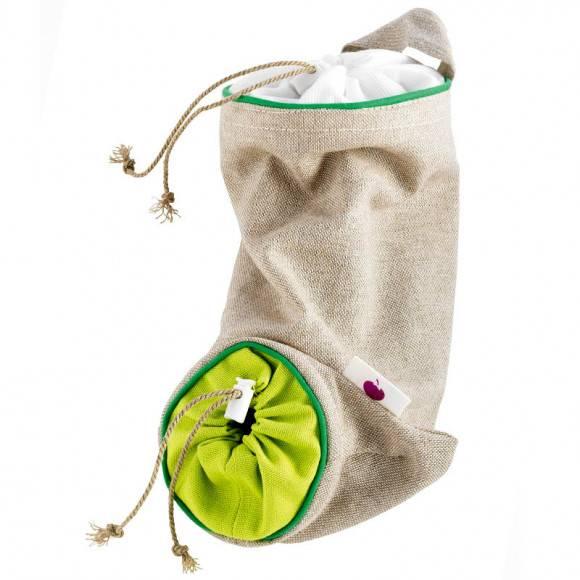WYPRZEDAŻ! MASTRAD Torba do przechowywania czosnku 24 cm / len / zielony / LENA