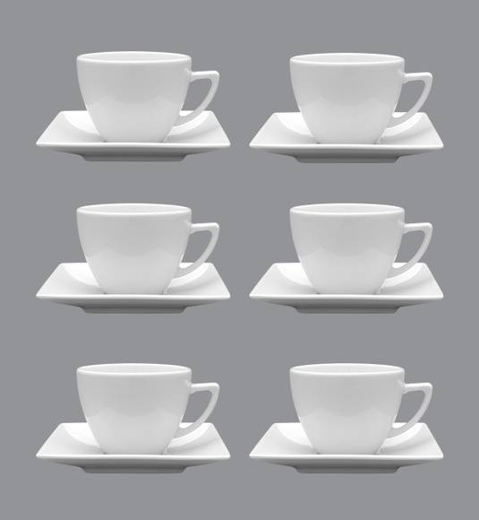 LUBIANA CLASSIC Komplet 6 Filiżanek 280 ml + spodki 15 cm / 12 el / 6 os / porcelana