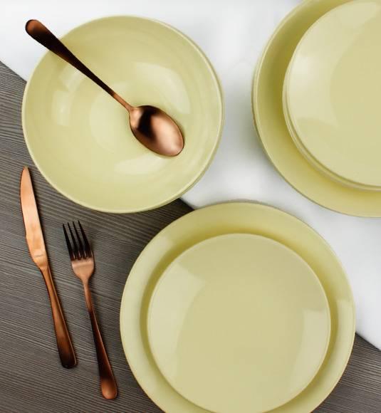 KAIA Komplet obiadowy 18 el dla 6 osób / żółty / ceramika