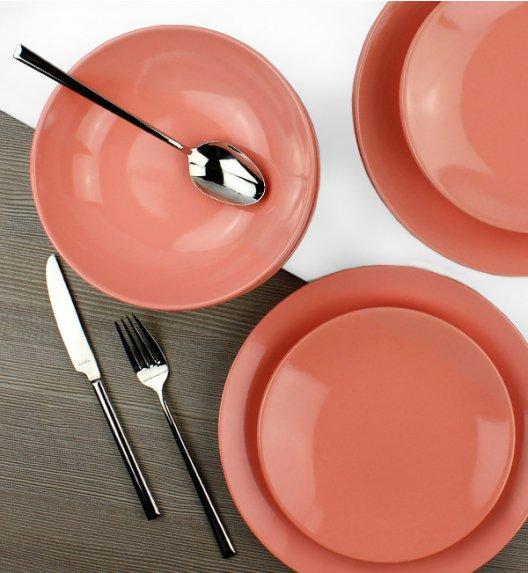KAIA Komplet obiadowy 18 el dla 6 osób / koralowy / ceramika
