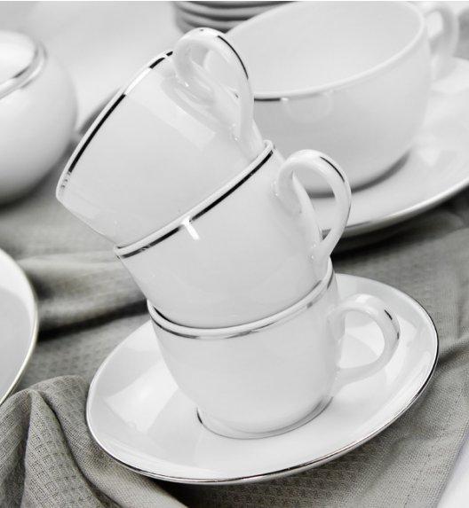 WYPRZEDAŻ! ĆMIELÓW YVONNE Komplet 6 filiżanek ze spodkami do espresso 12 el / 6 osób Platynowa linia / porcelana