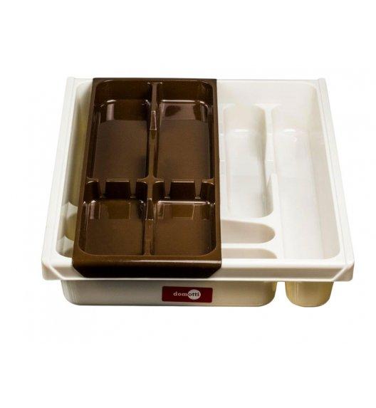 DOMOTTI DOUBLE Podwójny wkład na sztućce do szuflady 38,5 x 30,5 x 7 cm / tworzywo sztuczne / brązowy / 698931