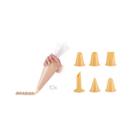 WYPRZEDAŻ! TESCOMA DELICIA Rękaw cukierniczy 30 cm / 10 sztuk + 6 dysz / ZOBACZ FILM.