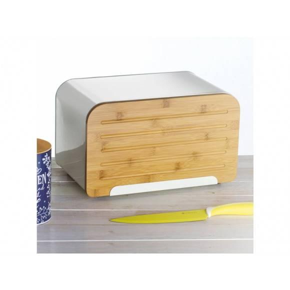 AMBITION NORDIC Chlebak z deską do krojenia 35 x 21,5 x 21,5 cm / kremowy