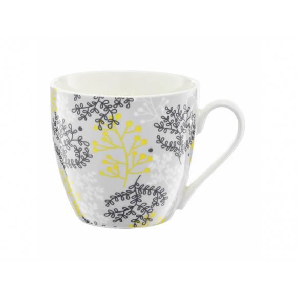 AMBITION NORDIC Kubek 510 ml / gałązki szaro - żółte / porcelana / 63487