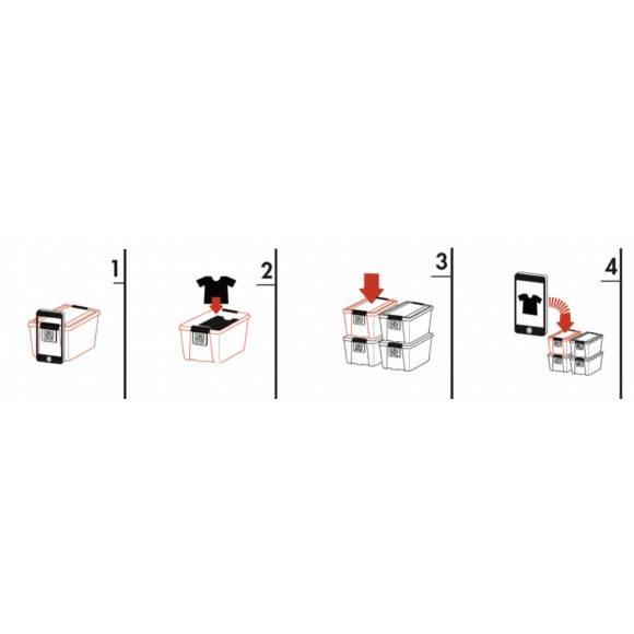 PLAST TEAM Ekologiczny pojemnik do przechowywania 32 l / BoxPointer / czarny / odelo