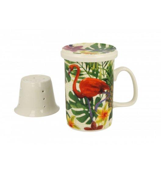 DUO FLAMINGO Kubek z zaparzaczem 300 ml / porcelana wysokiej jakości
