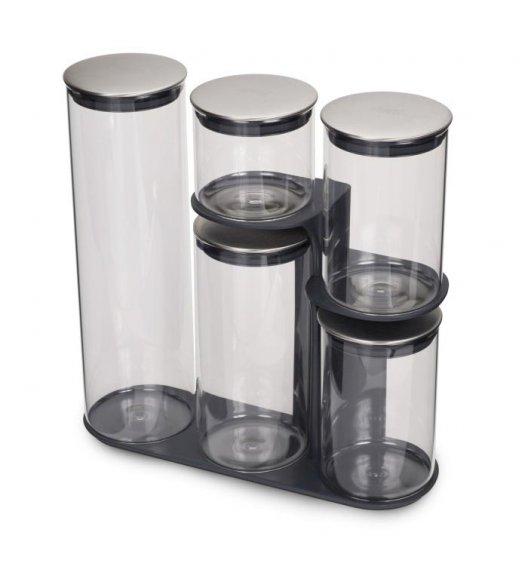 JOSEPH JOSEPH PODIUM 100 Zestaw 5 pojemników ze stojakiem do przechowywania / szary / Btrzy