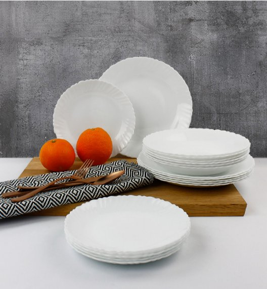 WYPRZEDAŻ! LUMINARC OPAL MUSZELKA Serwis obiadowy 36 elementów dla 12 osób  / szkło / Domino