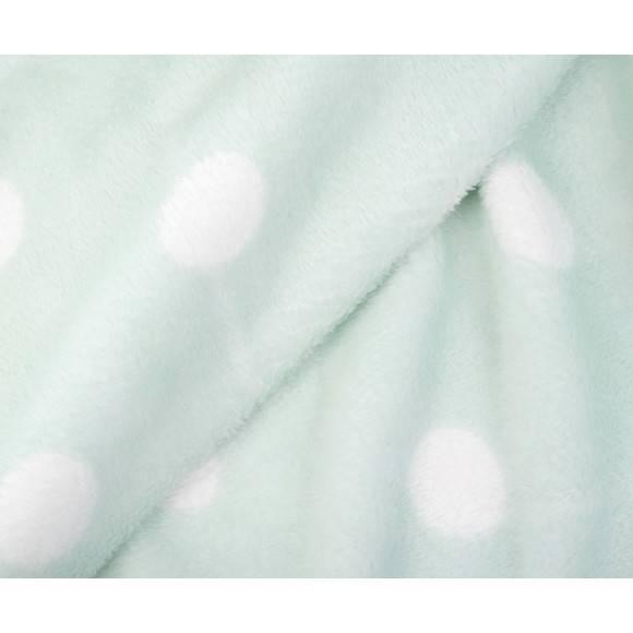 GÖZZE PUNKTE Koc z mikrofibry 100% / 150 x 200 cm / białe kropki / miętowy