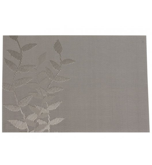AMBITION VELVET Mata stołowa 30 x 45 cm / prostokątna / liść / szara / 36419