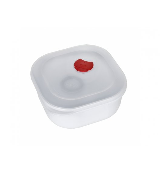 AMBITION SMART Kwadratowy pojemnik do kuchenki mikrofalowej 1,3 L / biało-czerwony / tworzywo sztuczne / 699371