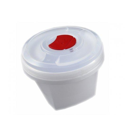 AMBITION SMART Okrągły pojemnik do kuchenki mikrofalowej 0,5 L / biało-czerwony / tworzywo sztuczne / 699419