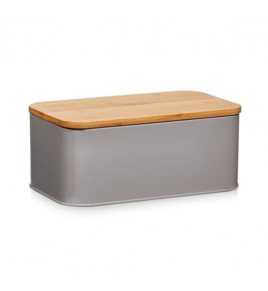 ZELLER Chlebak z bambusową deską do krojenia 2w1 / 31 cm / szary / metal