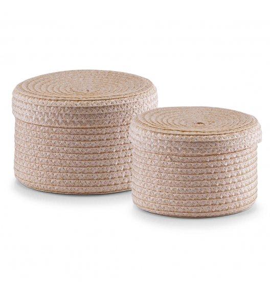 ZELLER Komplet 2 plecionych koszyków do przechowywania z wieczkiem / tworzywo PP
