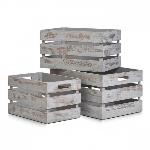 ZELLER Skrzynka / pudełko drewniane 31 x 21 x 18,7 cm / styl rustykalny