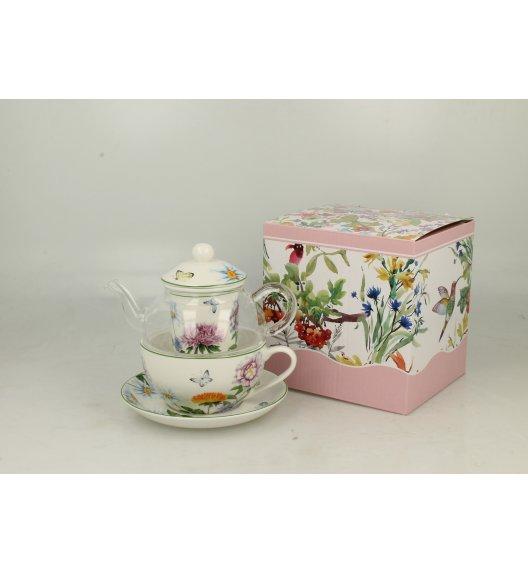 WYPRZEDAŻ! DUO FLOWER Szklany dzbanek z porcelanową filiżanką i spodkiem + zaparzacz LINDA / Porcelana