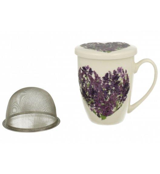 WYPRZEDAŻ! DUO FLOWER Kubek z zaparzaczem 320 ml LAWENDOWY D / Porcelana