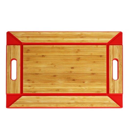 FREEFORM Taca do serwowania z drewna bambusowego / czerwona / dwustronna / LENA