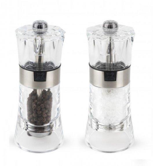 PEUGEOT OSLO Komplet 2 młynków do soli i pieprzu 14 cm / akryl + stal nierdzewna