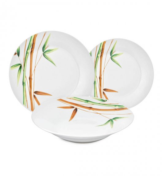 WYPRZEDAŻ! BELLA FIORE AR4 | Komplet 5 talerzy obiadowych i deserowych / Bambus / Ceramika / Italian Design