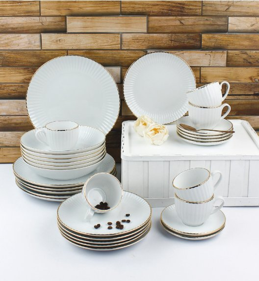 LUBIANA DAISY GOLD Serwis obiadowo - kawowy 6 osób / 30 elementów / Porcelana ręcznie zdobiona