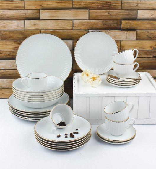 LUBIANA DAISY GOLD Serwis obiadowo - kawowy 12 osób / 60 elementów / Porcelana ręcznie zdobiona
