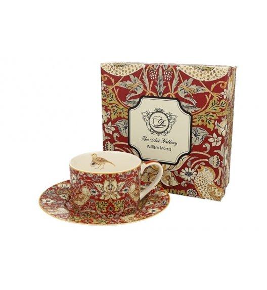 DUO RED Filiżanka ze spodkiem 240 ml / inspirowany dziełami Williama Moriss'a / porcelana